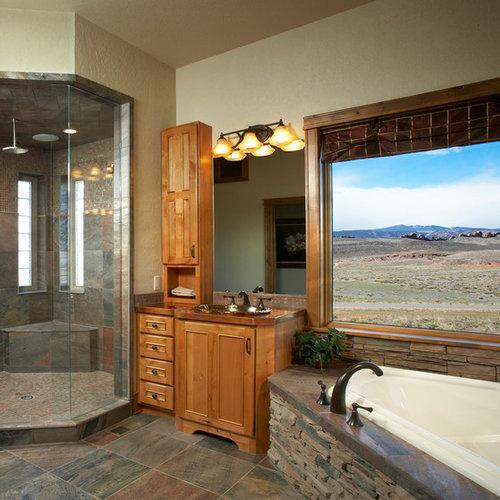 salle de bain principale avec un plan de toilette en cuivre photos et id es d co de salles de bain. Black Bedroom Furniture Sets. Home Design Ideas
