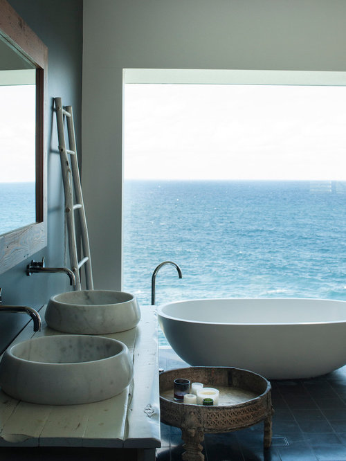 beach style bathroom. Photo Of A Beach Style Master Bathroom In Sydney With Furniture-like Cabinets, Beige N