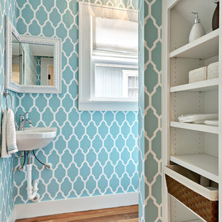 Example Of A Transitional Medium Tone Wood Floor Bathroom Design In Austin  With A Wall
