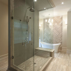Transitional Bathroom by Avissa Mojtahedi Architecture & Design Inc.