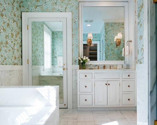 Mid Sized Elegant White Tile Marble Floor Bathroom Photo In Nashville With Raised Panel