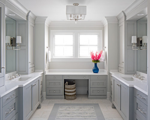 example of a coastal gray floor bathroom design in other with shaker cabinets gray cabinets