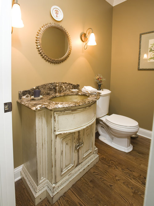 example of a mountain style bathroom design in chicago with an undermount sink raised - Habersham Furniture