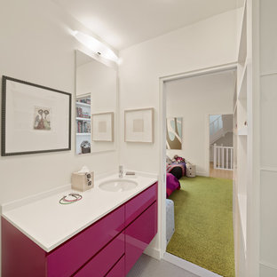 Bathroom - contemporary kids' mosaic tile floor bathroom idea in San Francisco with an undermount sink, flat-panel cabinets and white walls