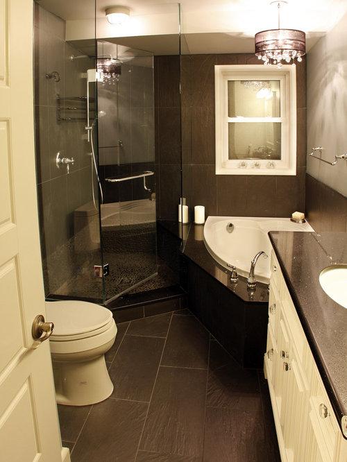 Narrow bathroom design ideas renovations photos with a corner tub - Bathroom remodel corner shower ...