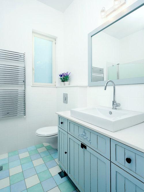 Example Of A Minimalist Blue Tile Blue Floor Bathroom Design In Tel Aviv  With A Vessel