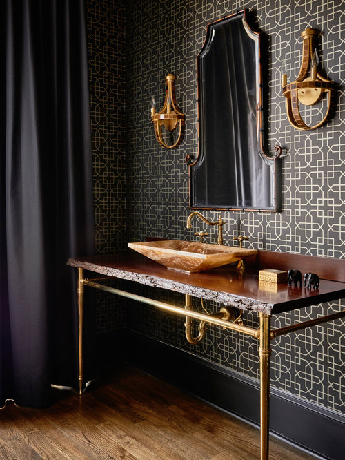 Example Of A Trendy Medium Tone Wood Floor Bathroom Design In Raleigh With  Black Walls And