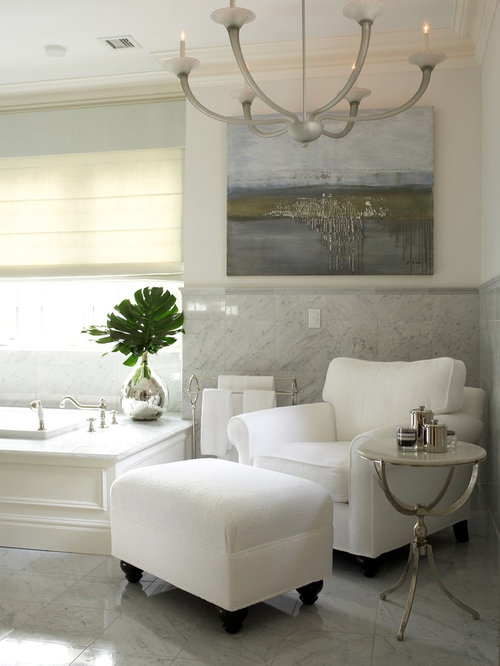 Transitional White Tile Drop In Bathtub Photo New York With Walls