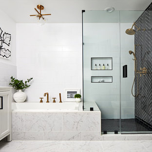 Transitional master black tile, black and white tile and white tile gray floor drop-in bathtub photo in DC Metro with white walls