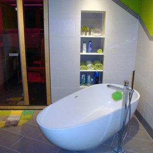 Freestanding Bathtub   Mid Sized Modern Master Freestanding Bathtub Idea In  San Francisco