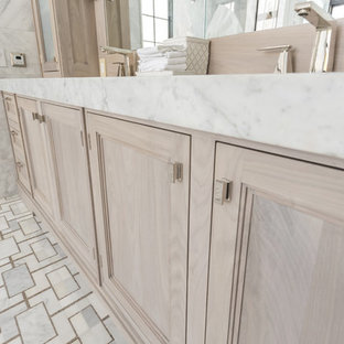 Large beach style master white tile bathroom photo in Other with light wood cabinets and marble countertops