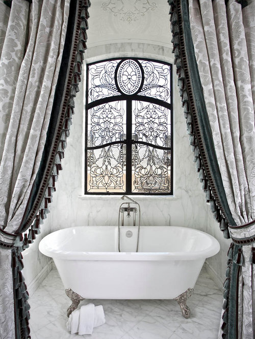 Traditional White Tile Claw Foot Bathtub Idea In Orange County