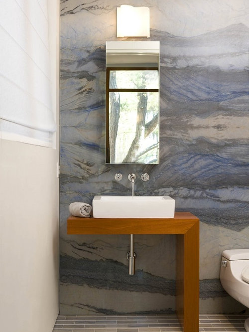 Bathroom Contemporary Blue Tile And Stone Slab Bathroom Idea In Dc Metro With Wood Countertops