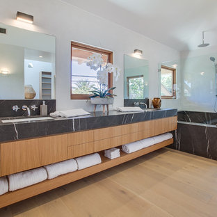 Bathroom   Tropical Master Light Wood Floor And Beige Floor Bathroom Idea  In Los Angeles With