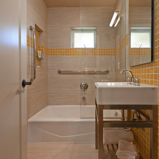 Inspiration for a small arts and crafts 3/4 bathroom in Seattle with beige tile, yellow tile, an alcove tub, a shower/bathtub combo, ceramic tile, beige walls, ceramic floors, a drop-in sink, solid surface benchtops, beige floor and an open shower.