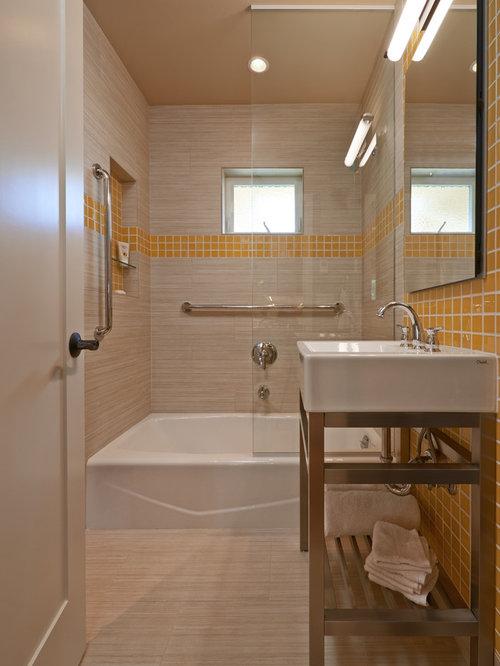 rustikale badezimmer mit gelben fliesen ideen design. Black Bedroom Furniture Sets. Home Design Ideas