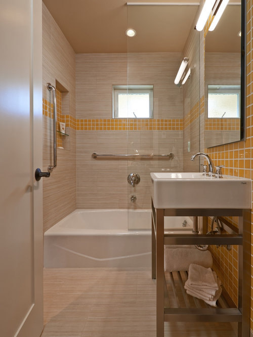 5x5 bathroom design ideas remodels photos with orange tile for Bathroom 5x5