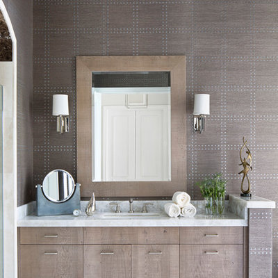 Inspiration for a mid-sized transitional master bathroom remodel in Miami with flat-panel cabinets, light wood cabinets, gray walls, an undermount sink, marble countertops and gray countertops