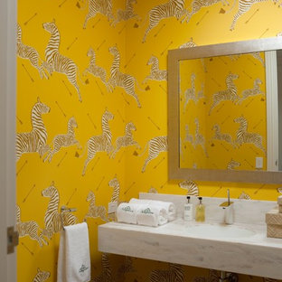 Bathroom - contemporary kids' bathroom idea in Melbourne with an undermount sink and yellow walls