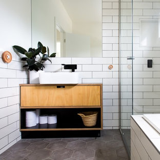 Photo Of A Mid Sized Scandinavian Bathroom In Melbourne With Light Wood Cabinets