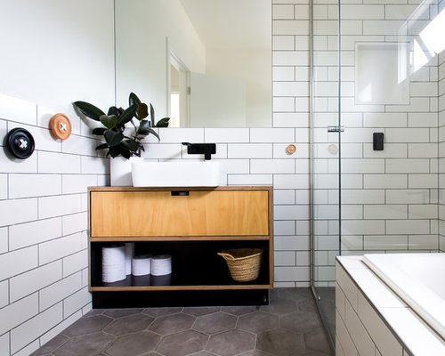 Photo Of A Mid Sized Scandinavian Bathroom In Melbourne With Light Wood  Cabinets, A