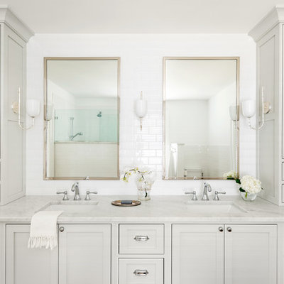 Bathroom - mid-sized traditional master white tile and subway tile bathroom idea in Other with recessed-panel cabinets, gray cabinets, a one-piece toilet, white walls, an undermount sink, marble countertops and white countertops