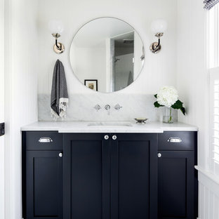 Inspiration for a small contemporary shower room in Other with shaker cabinets, black cabinets, grey tiles, marble tiles, white walls, a submerged sink, marble worktops, multi-coloured floors, grey worktops and mosaic tile flooring.