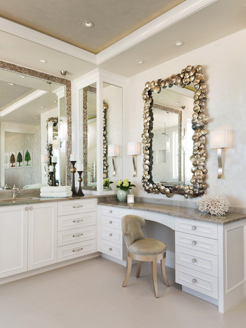 3 621 beach style bathroom design photos with white cabinets