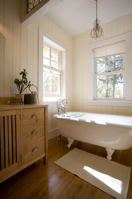 Farmhouse Bathroom by Phinney Design Group