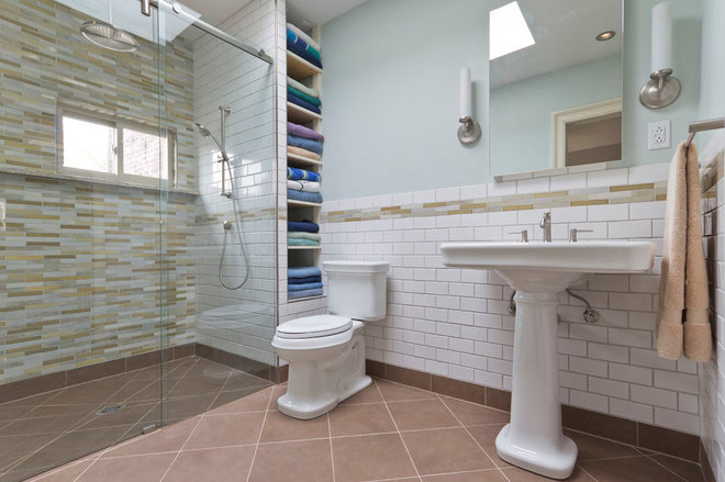eclectic bathroom by Green Mountain Construction & Design