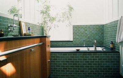 Nya kakeltrenden i badrummet – grönt metro-kakel