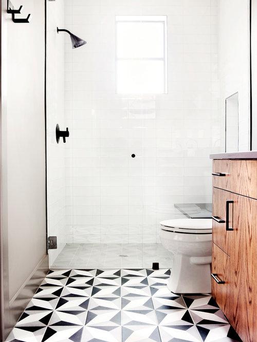 Alcove Shower   Small Transitional 3/4 White Tile And Porcelain Tile Cement  Tile Floor