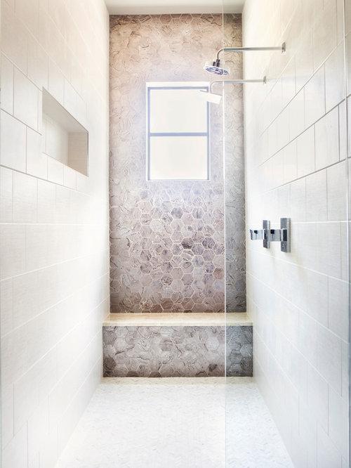 Trendy Master Beige Tile Mosaic Tile Floor And White Floor Bathroom Photo  In Austin