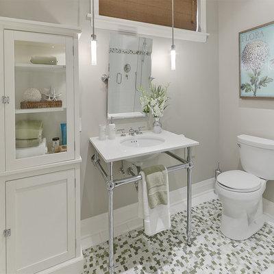 Bathroom - contemporary mosaic tile bathroom idea in Toronto with a console sink