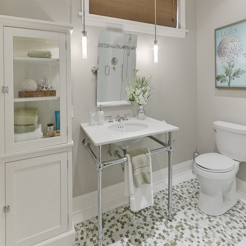 Bathroom   Contemporary Mosaic Tile Bathroom Idea In Toronto With A Console  Sink
