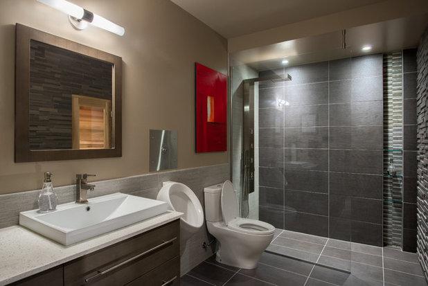 Contemporary Bathroom Basement Brewery / Bar / Home Theater