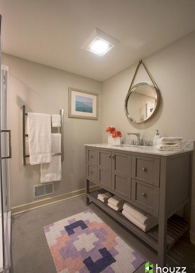 Houzz tv kristen bell renoviert das souterrain ihrer schwester - Badezimmer deckenfarbe ...