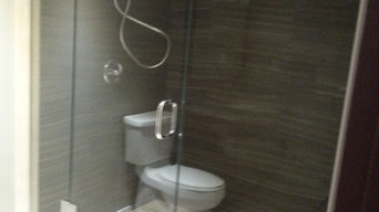 Basement shower with bench