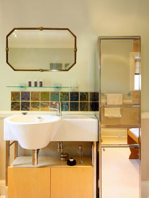 'Inspiration for an eclectic multicolored tile bathroom remodel in London with an integrated sink, flat-panel cabinets and light wood cabinets' from the web at 'https://st.hzcdn.com/fimgs/1ba124920b4dd013_3199-w500-h666-b0-p0--.jpg'