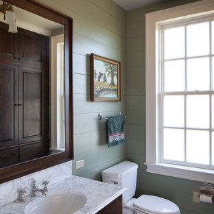 Mountain style bathroom photo in Austin with an undermount sink, raised-panel cabinets, dark wood cabinets and green walls