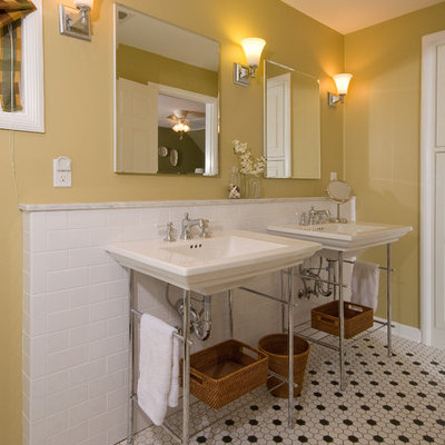 Elegant master white tile alcove shower photo in Columbus with a console sink, yellow walls and a two-piece toilet