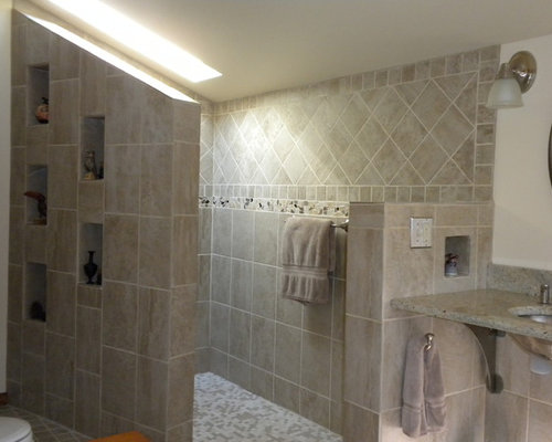 Doorless walk in shower houzz Walk in shower designs