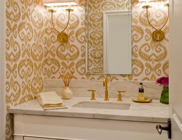 Bath with Gold Accents and Ikat grasscloth wallpaper