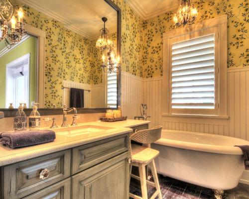 landhausstil badezimmer mit terrazzo waschbecken. Black Bedroom Furniture Sets. Home Design Ideas
