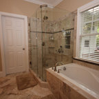 Walk In Shower Without Glass Doors or Curtains - Bathroom ...