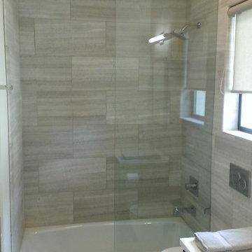 "Bathroom - 12"" x 24"" Valentino Gray Marble Walls / Floor"