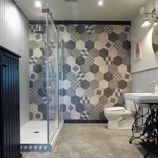 Idee per una piccola stanza da bagno con doccia industriale con ante di vetro, ante grigie, doccia alcova, WC a due pezzi, pareti grigie, pavimento in cemento, lavabo a colonna, pavimento grigio e porta doccia scorrevole