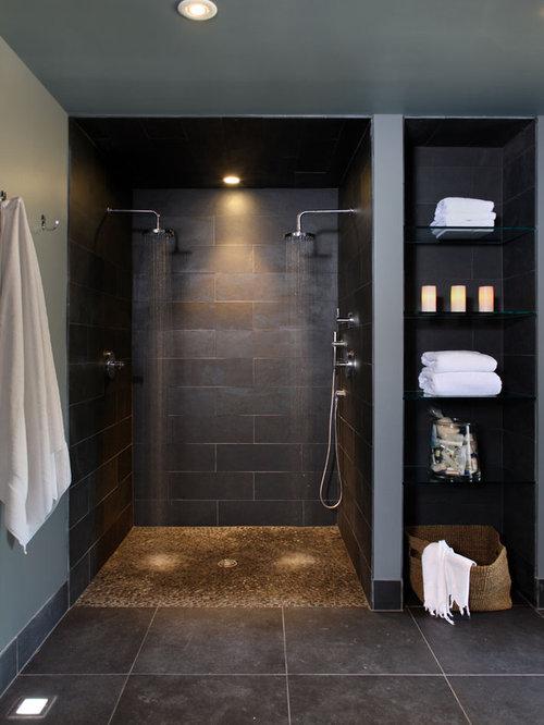 moderne badezimmer mit kiesel-bodenfliesen: design-ideen, Hause ideen
