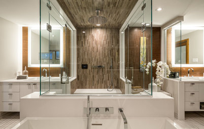 Wasted Space Put to Better Use in a Large Contemporary Bath