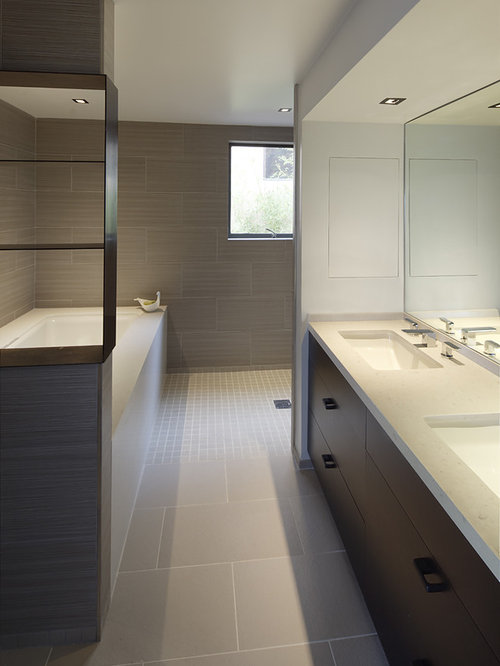 Beige Tiled Bathrooms Minimalist 5x8 modern bathroom ideas | houzz